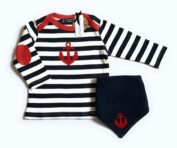 Maritime set long sleeve shirt & cloth anchor - fair - blue/white striped - Hamburg gifts, gift for birth, baby shirt anchor