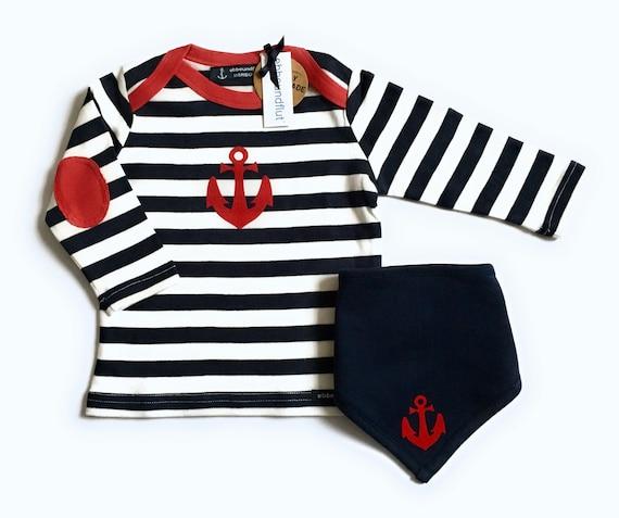 Maritime set long sleeve Shirt & Towel Anchor-fair-blue-white striped-Hamburg gifts, gift for birth, Babyshirt, kids shirt