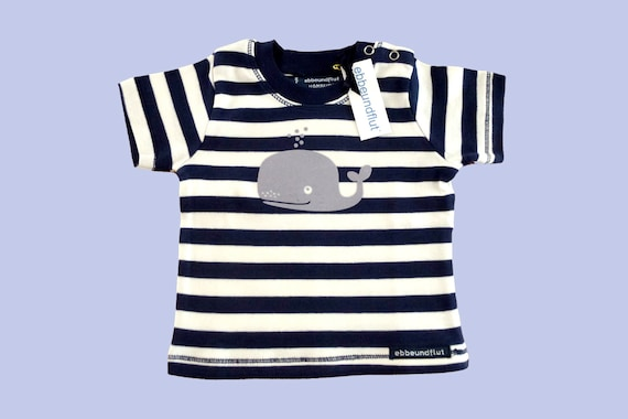 Maritimes baby shirt Whale blue white striped-fair-baby, t-shirt, Babyshirt, whale, maritim, blue white striped, baby gift, Hamburg