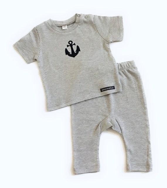 Maritimes baby-set Anchor-grey/white-fair & bio-baby, gift for birth, Babyshirt anchor, shirt striped, set anchor, organic cotton