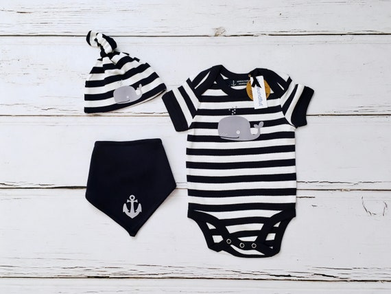Maritimes Baby set Wal-3 parts-fair-Hamburg gifts, gift for birth, baby hats, babysuit, baby romper Suits, baby set, striped