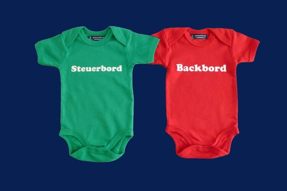 Twin pack: Baby-Bodies Starboard & Port-Fair trade-green red, babyset, gift for birth, twins, twins, baby romper suits