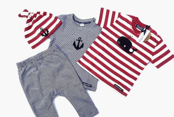 Maritime Baby set Wal & Anker-fair-organic baby Gift, Babyset, Hamburg Gift, Maritim, striped, baby shirt, baby trousers, cap