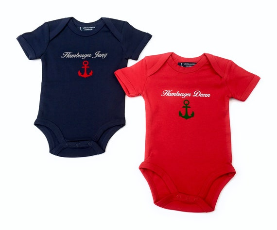 Maritime Baby Set - Baby Body Hamburger Young & Baby Body Hamburger Deern - Fair Trade, Baby Gift for Birth, Hamburg Gift Twins