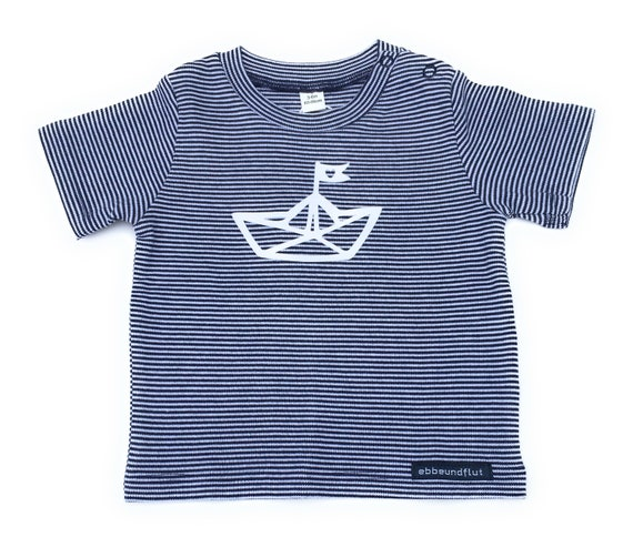 Maritime baby shirt paper boat - dark blue/white striped - fair & organic, gift for birth, Hamburg gift, striped baby shirt