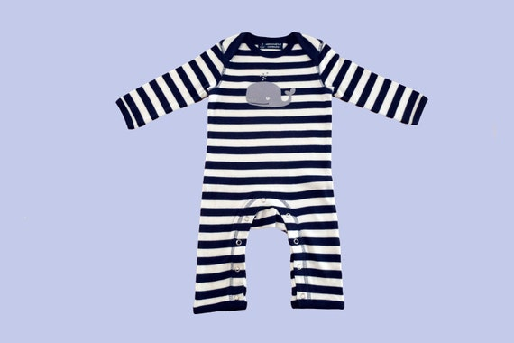 Maritime Baby Trample Whale - Fair Trade & Organic - Baby Gift for Birth, Baby Romper Whale, Onesie Stripes