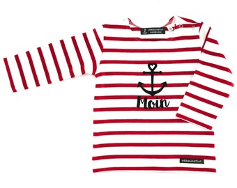 Baby Shirt Moin - white red striped - Breton Baby Shirt maritime with anchor, Breton Shirt Baby Moin, Baby gift for birth, ebb and flow