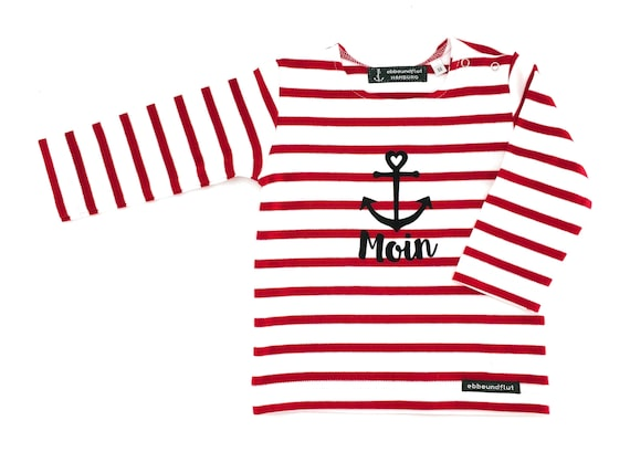 Baby Shirt Moin - White Red Striped - Breton Baby Shirt maritim with Anchor, Breton Shirt Baby Moin, Baby Gift for Birth