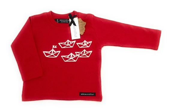 "Long-sleeved shirt ""Paper ship"" red white - Fair Trade - Shirt maritim Paperboats, Hamburg Gift"