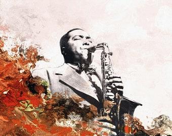 Hot House, Abstrakte Malerei Acryl Aquarell Jazzmusiker, Wand Kunst Der  Musiker Charlie Parker Von Hertz, Saxophon Poster, Wohnkultur Kunst