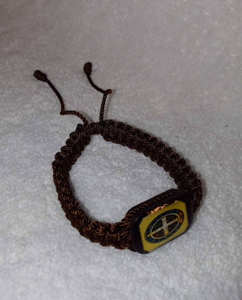 Saint Benedict of Fursia handmade Macrame bracelets  San Benito de Fursia Pulsera Macrame  Catholic bracelets  Pulseras Catolicas de hilo