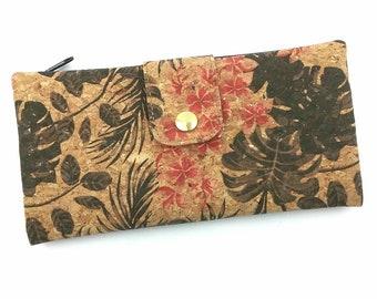 378846988af2cf Portemonnaie Kork mit Blüten und Blätter,Geldbörse Damen vegan, großer  Geldbeutel, Geschenk für Sie