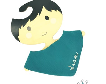 Personalised muslin triangular cloth (2 pieces) * Musselin spitting cloth in teal (6-24 months)