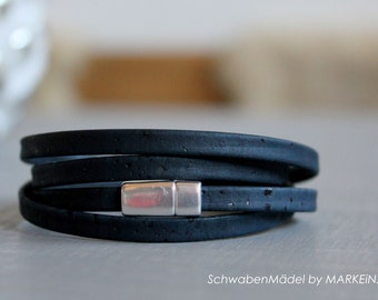 Bracelet wrapped   Cork   vegan   navy silver