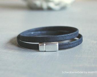 Bracelet for wrapping   Cork   vegan   marine silver