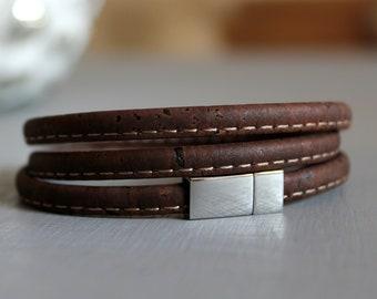 Wrap Bracelet   3   Cork   Vegan   Brown-Silver