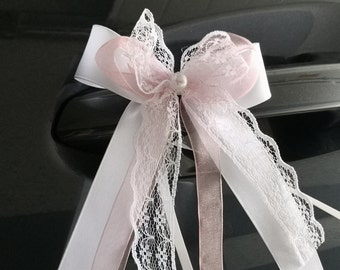 10 Antennenschleifen Autoschleifen Hochzeitsdeko Schleifen weiß fuchsia pink
