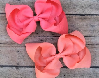 Back to School XXL Bow Hot Pink Fancy Bow Big Hair Bow Girl Bow Texas Sized Bow Boutique Bow White 7 inch wide bow