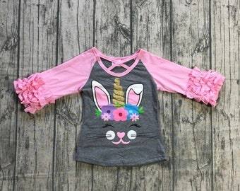 37c02cba396b Easter Unicorn Ruffle Sleeve Shirt