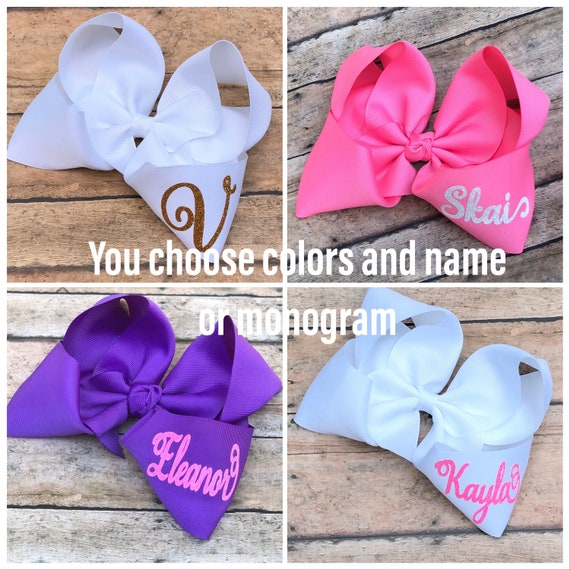 Set of 5 Monogrammed Boutique Hair Bows-You choose colorsBoutique Hair BowsMonogrammed Hair Bows