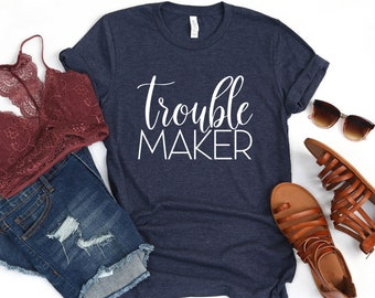 a137d6427 Trouble Maker Unisex T-Shirt / Women's Racerback Tank / Funny Yoga Tank /  Funny Workout Top / Sarcastic Tank Top / Funny Saying / Fitness