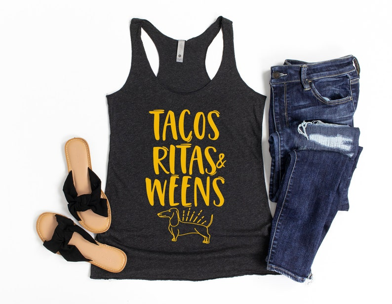 Dachshund Shirt for Mom Doxie Owner Gift Tacos Ritas and Weens Tank Top Wiener Dog Shirt for Her Dachshund Tank for Women