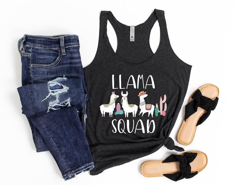 Llama Party Shirt Llama Birthday Shirt Llama Tank for Her Mama Lama T-Shirt Llama Squad Tank Top Llama Mom Shirt for Women
