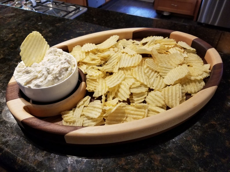 Wooden Chip and Dip Bowl Serving Tray Cutting board image 0