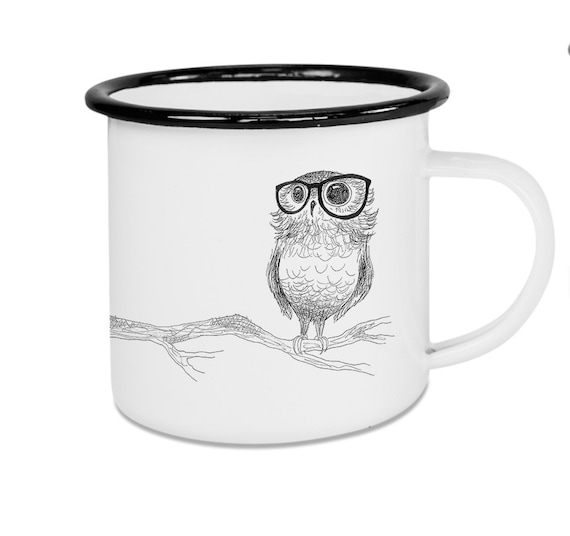Ligarti Kaffeebecher mit Kunstdruck Brilleneule Campingtasse Emaille