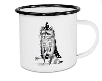 Enamel Cup Zaubär the Raccoon