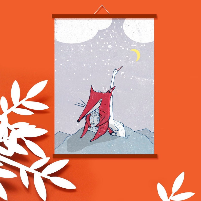 Poster Nursery  Fox and Goose in the Snow  Decoration baby image 0