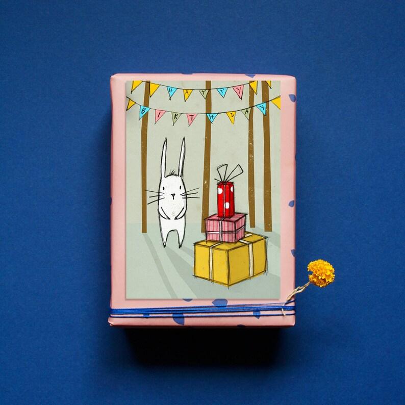 Postcard  Bunny Birthday  Happy Birthday  Congratulations  image 0