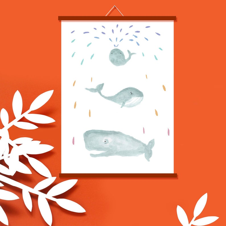 Children's Poster Whales  Poster Nursery  Picture for image 0