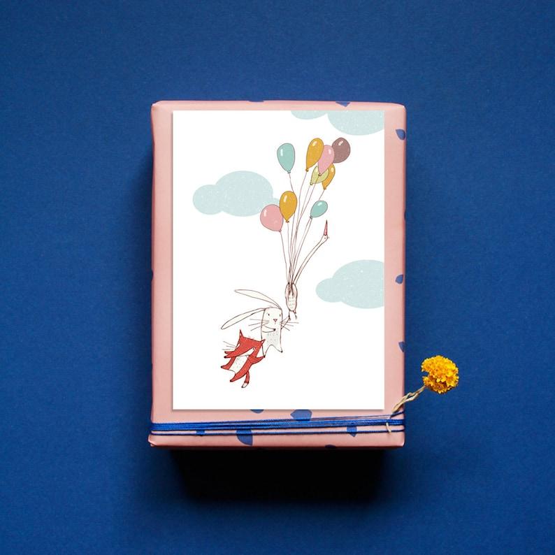 Postcard  Through the Air  Greeting Card  to birth  image 0