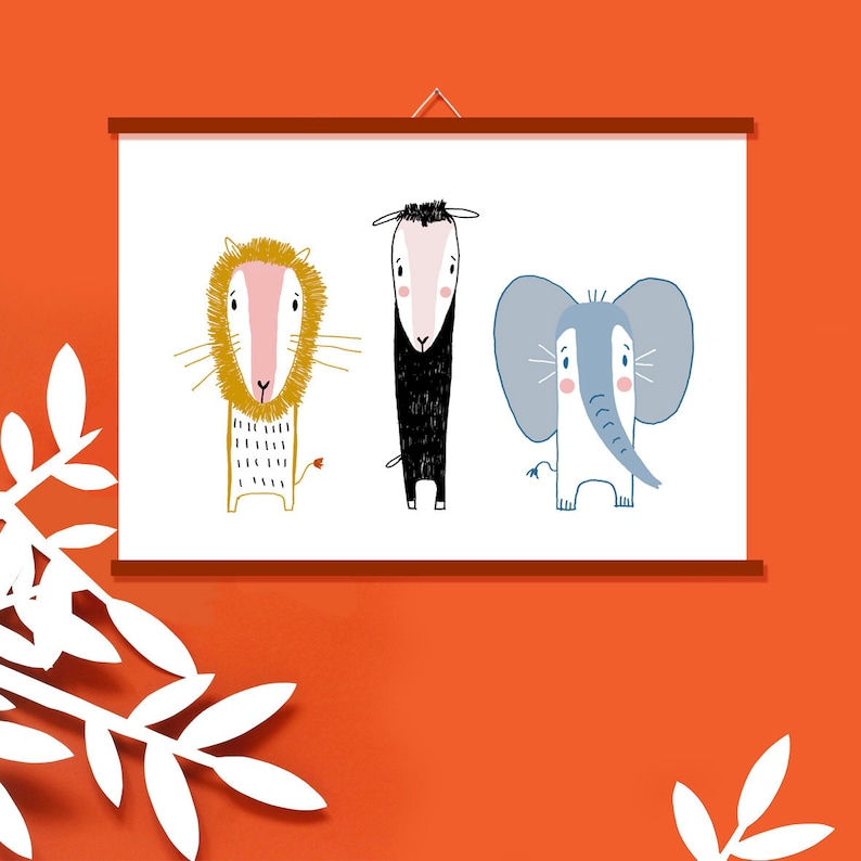 Poster Nursery  Mural  Lion Sheep and Elephant  Decoration image 0