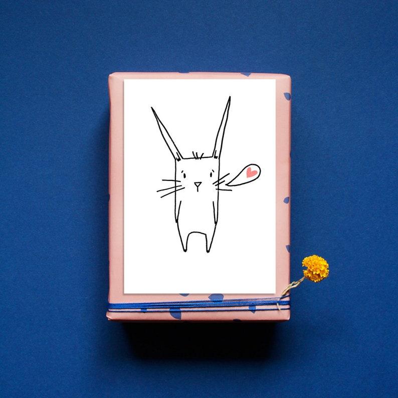 Postcard  Greeting Card  Bunny Hearts  Love  Love  image 0