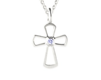 necklace with pendant: cross 2 - silver, blue saphire