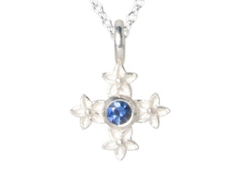 necklace with pendant: cross star flower - silver, blue saphire