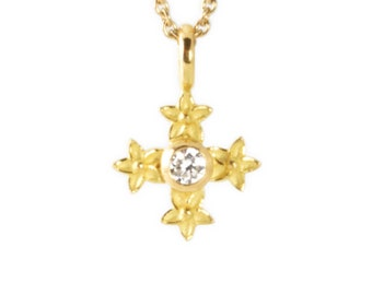 necklace with pendant: cross star flower - gold, diamond