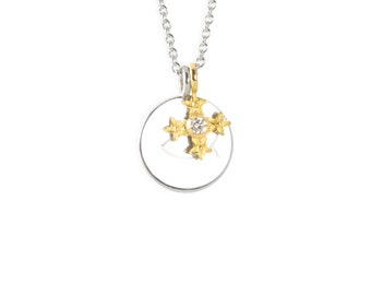 """necklace with pendant: customizable necklace, christening cross """"star flowers""""- sterling, saphire pink"""
