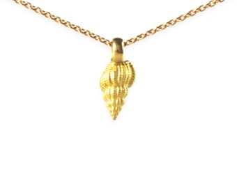 necklace with pendant: auger shell - 18k gold