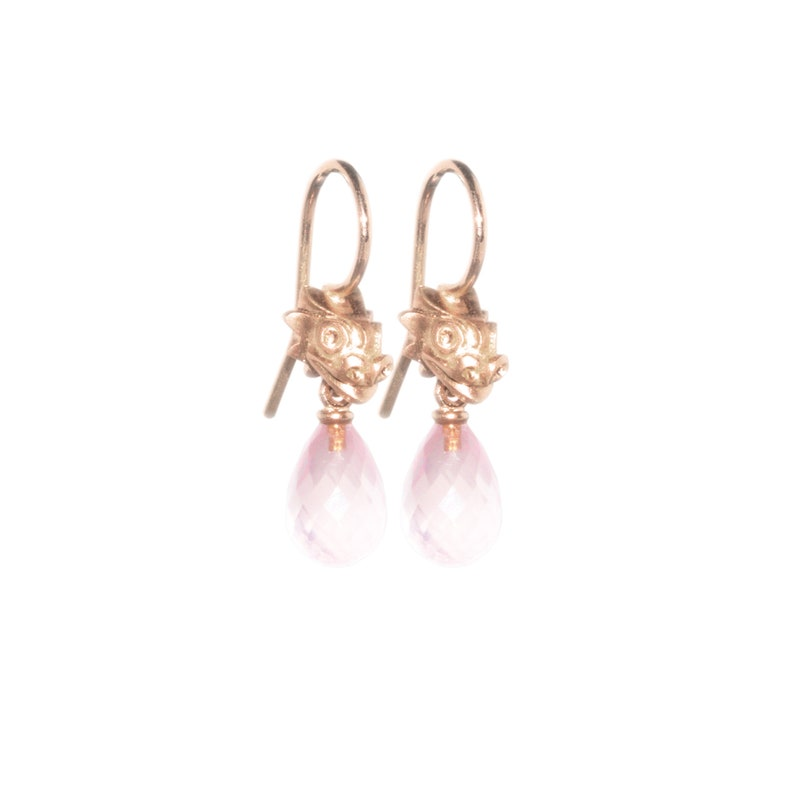 dangle earrings: dragons  rose gold image 0