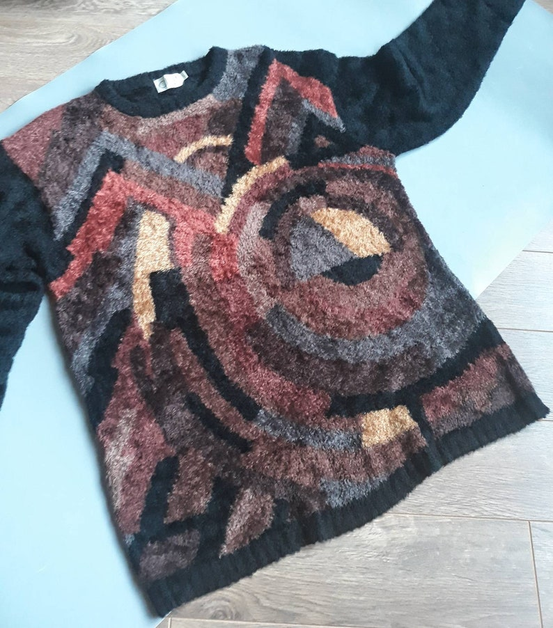 Long Sleeve Sweater Long Knitted Pullover Vintage Fluffy L Size Sweater Fuzzy Black Abstract Sweater Snuggly Brown Geometric Sweater