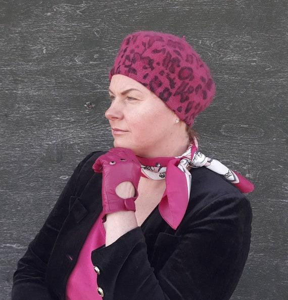 Vintage Pink Leopard Print Wool Beret, Hot Pink Ma
