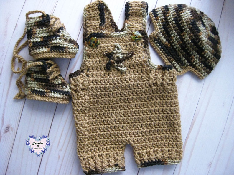 Army Theme Baby Outfit  Tan & Camouflage Baby Overalls  image 0