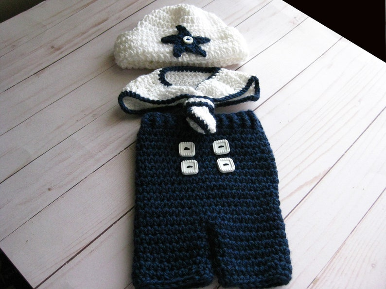 Crochet Knit  Navy Themed Sailor Baby Outfit  Apparel  Hat image 0