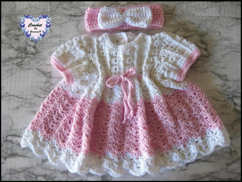 Crochet Knit Baby Girl Dress in Pink and White with Pink-White image 0