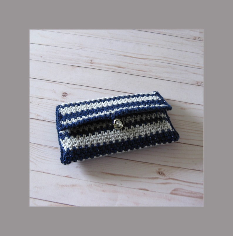 Dark Blue and Silver Clutch Evening Bag  Crochet Midnight image 0