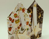 "Gift package ""Christmas House-merry xmas"" with gold-embossed paper for flat gifts, money or vouchers in house form"
