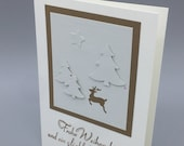"Greeting card ""Christmas Forest"" with fir trees and deer"